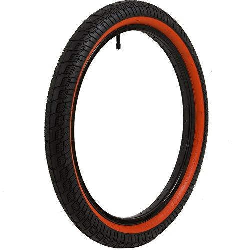 MTF BMX Reifen 20 x 2,25 Zoll Freestyle Verschiedene Farbvarianten Sidewall, Farbe:Schwarz/Rote Sidewall