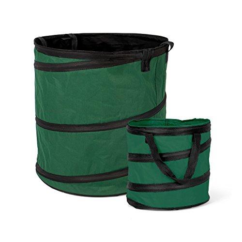 Fundwerk Pop-up Garten-Abfallsack 15L & 85L im 2er Set | Die Gartenabfallsäcke sind bestens geeignet als Laubsack und für Grünschnitt | dunkelgrün