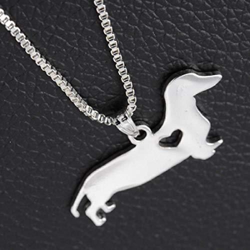 Nrxue Halsketteunisex Silber Glamour Puppy Hound Halskette