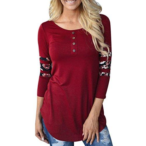 Malloom® Chemise à manches longues à manches longues imprimé pour femme Chemise décontractée T-shirt à encolure en été (L, Rouge)