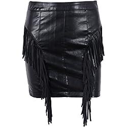 Simplee mujeres de cuero lápiz bodycon mini falda de cintura alta con borla