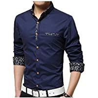 IndoPrimo Men's Cotton Casual Fancy Shirt for Men Full Sleeves (Navy Blue, Medium - 40)