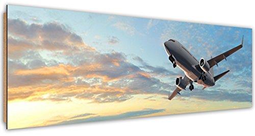 Feeby. Wandbild, Deco Bild, gedrucktes Bild, Deco Panel, Bild, Panoramabild 158x53 cm, FLUGZEUG, TRANSPORT, BLAU