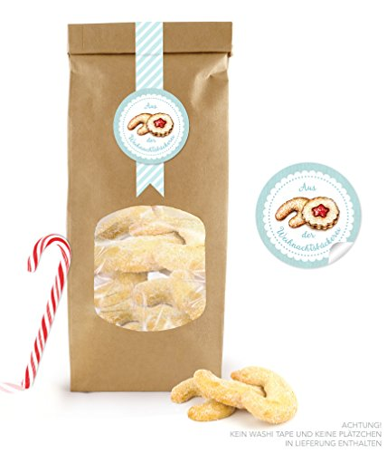 "Set of 24 Bio Paper Bags with Window – Brown Small: 24 Block Bag With Zipper (Size: 9 x 27 cm, The Base Measures: 9 ""x 1 3/4) [Set of 2 24 Stickers Christmas Advent Calendar with Christmas Cookie Mint 4 cm in diameter round matt"