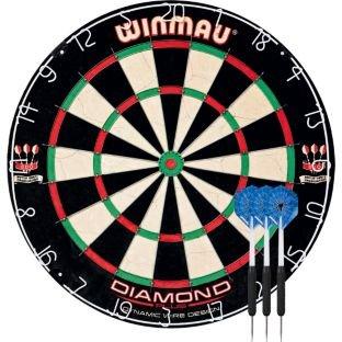 WINMAU Diamant Plus Dartboard und Deluxe Darts, Größe: H5cm, B 45, T5cm, beinhaltet EIN Set Deluxe Darts.