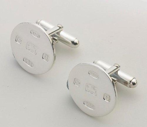 Silver Jewellery Boutons de manchette ronds présentés dans une boîte de grande qualité