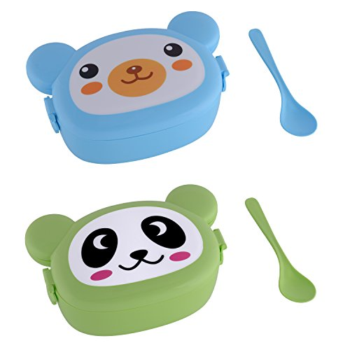 Lunchbox Brotdose Kindergarten Brotbox Brotbüchse Butterbrotdose Brotbehälter Vesperdose Vesperbox Kinder Brotzeitbox (Blue + Green Bear)