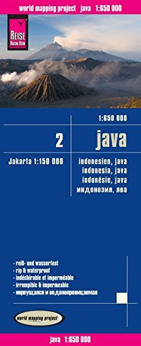 Indonesia 2: Java, mapa impermeable de carreteras. Escala 1:650.000 impermeable. Reise Know-How. por VV.AA.