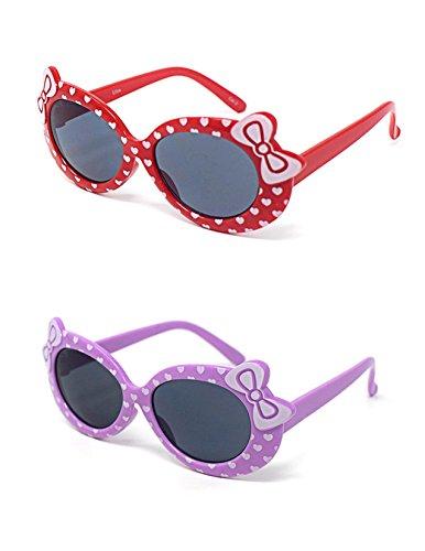2 x Kinder Kids Mädchen 1 lila 1 rot stilvolle hallo Kitty Style UV400 Sonnenbrille (Classic Hello Kitty Kostüme)