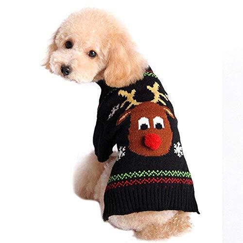 Dragon868 Pet Kleidung Pullover Weihnachten Kleid Winter Warme Rollkragenpullover Elch Kostüm Bekleidung