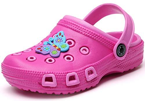 Gaatpot Kinder Clogs Pantoletten Mädchen Jungen Sandalen Slip On Outdoor Flach Hausschuhe Geschlossene Strand Sandale Schuhe Sommer Pink(Funny) 30