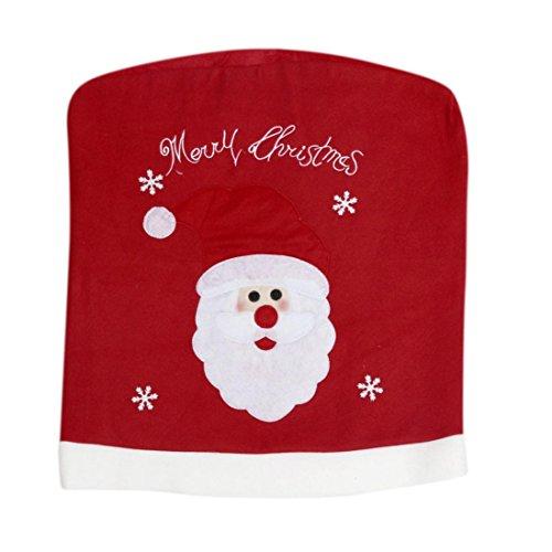 GillBerry 1 PC Navidad de Santa Claus Cubierta trasera de la silla Sombrero del muñeco de nieve Mesa del comedor Decoración del partido 49*55cm