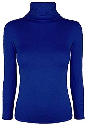 À Manches Longues Femmes Uni Ruché Haut Col Roulé Femmes Décontracté Basique Polo Col Roulé Tailles 8-14 Bleu Roi