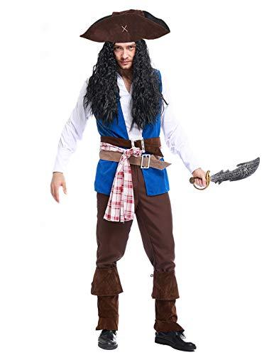 HDE Herren Piratenkostüm Erwachsenengröße Cutthroat Karibik Buccaneer