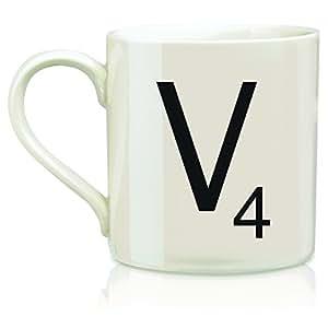 "Scrabble ""V"" Mug, Cream"