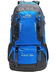 Deportiva Bolsa Mochila Bolsos Mochilas Impermeable 60L Al Aire Libre De Excursión De Deporte Montaña Acampada Ciclismo - Azul, 61 x 37 x 21 cm
