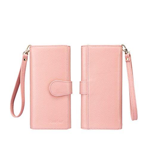 Geldbörse Damen Leder Rfid Geldbörse Brieftasche Lang Handy Geldbeutel Frauen Rosa - 6