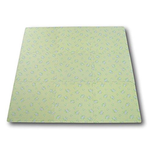 Alfombra puzzle de goma EVA para niños. 9 piezas. 90 x 90 x 1 cm. Flores sobre fondo verde pastel