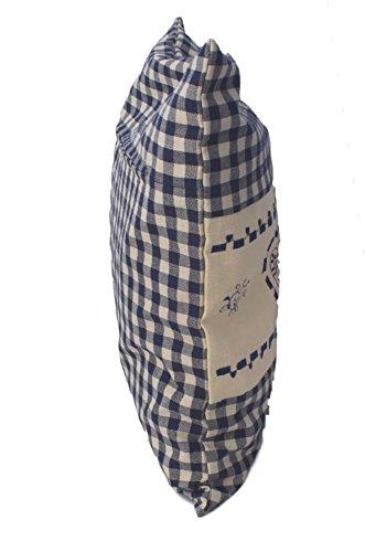 Zirbenkissen blau kariert mit Herz Stickerei befüllt mit Zirbenflocken aus 100% Alpen Zirbenholz in extra Inlett Größe 40x40 cm -