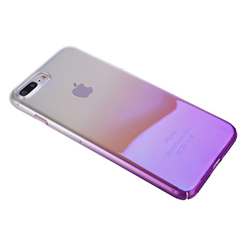 iPhone 8 Plus Cover, iPhone 7 Plus Custodia Case, JAWSEU Apple iPhone 8 Plus 5.5 Custodia Cover Gradiente Colore Riflessivo Ultra Sottile Leggero Custodia Liscio Anti Graffio Anti Scossa Anti Scivolo  Gradiente Porpora