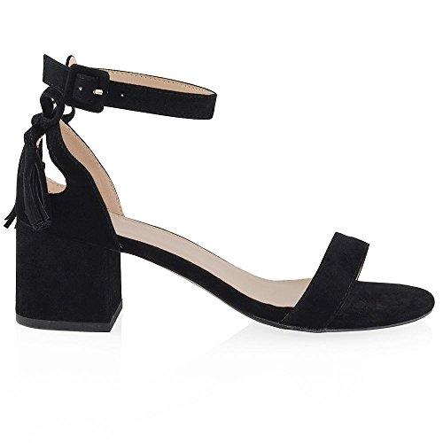 ESSEX GLAM Sandalo Donna Finto Scamosciato Cut-Out Tacco a Blocco Cinturino Caviglia Fiocco Nero Finto Scamosciato