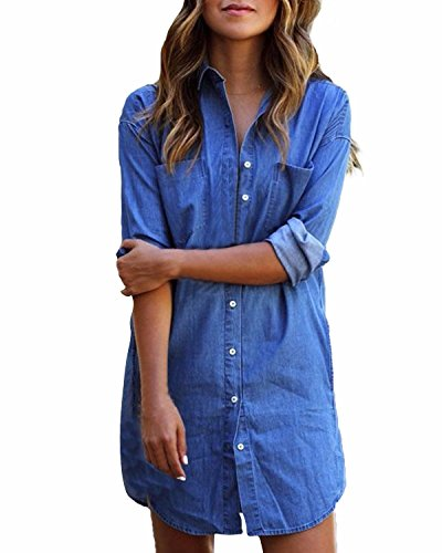 StyleDome Sexy Women's Denim Shirt Dress Lace up Off Shoulder Long Sleeve Tops Mini Beach Party Sundress