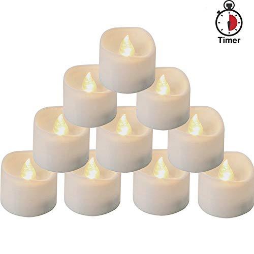 Homemory 12 led teelichter mit timer, 6 Stunden an und 18 Stunden aus, 3.6 x 3.6 cm elektrische flackernde batteriebetriebene kerzen, warme weiße