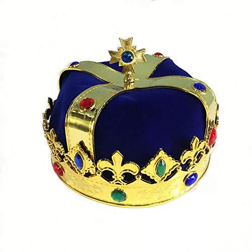 QueenHome König Crown Zepter Crown Hut Halloween Bühnenshow Maskerade Dekoration Cosplay Requisiten Kaiser Hüte für Kind Erwachsene - Crown Royal Kostüm Mädchen