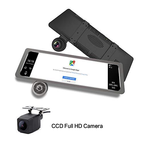 KUNFINE® D10 25,4 cm großer Touchscreen Multifunktions Android GPS Navi Dashcam Auto DVR Spiegel Digital Video Recorder Dual Kamera Aufnahme WiFi Bluetooth mit 4G / FM Übertragung Digital Auto-kamera-dvr