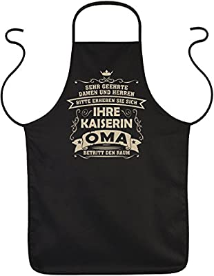 Tini - Shirts Oma Sprüche-Schürze - Sprüche Kochschürze Großmutter - Geschenk-Schürze Omi : Ihre Kaiserin Oma betritt den Raum - Geschenk Grillschürze Geburtstag Oma