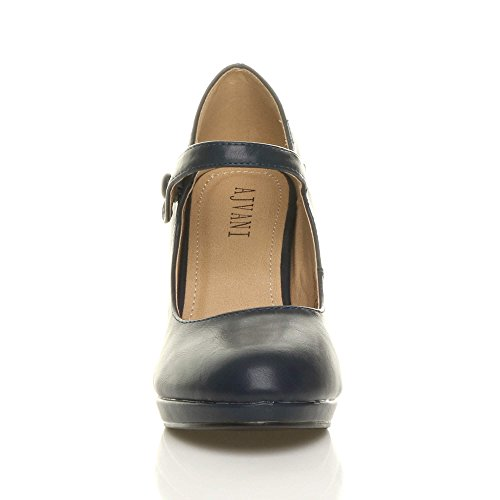 Ajvani Femmes Talon Haut Mary Jane Soir Travail Escarpins Babies Chaussures Pointure Mat bleu foncé marine