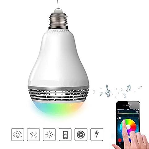 H&M Smart Light Bulb Haut-parleurs Bluetooth, E27 6W LED RGB Ampoule couleur, Contrôle du téléphone portable Changement de couleur Bluetooth Speaker LED Ampoule