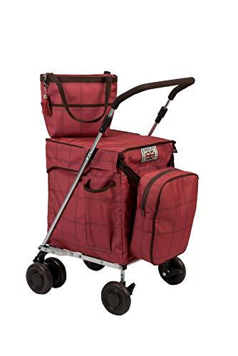 Sholley 'Mayfair' Faltbarer Deluxe Einkaufswagen. Robuster zweilagiger Shopper und Mobilitätshilfe zum Gehen, 4, 6 Räder, Handtasche, Kühltasche, kostenloser Innentaschentrenner.