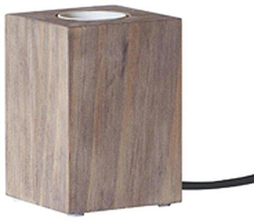 Glühlampe Halterung - Brauner Sockel - Holz - Geeignet für E27 - Zuleitung 1,8m - Mit Schalter