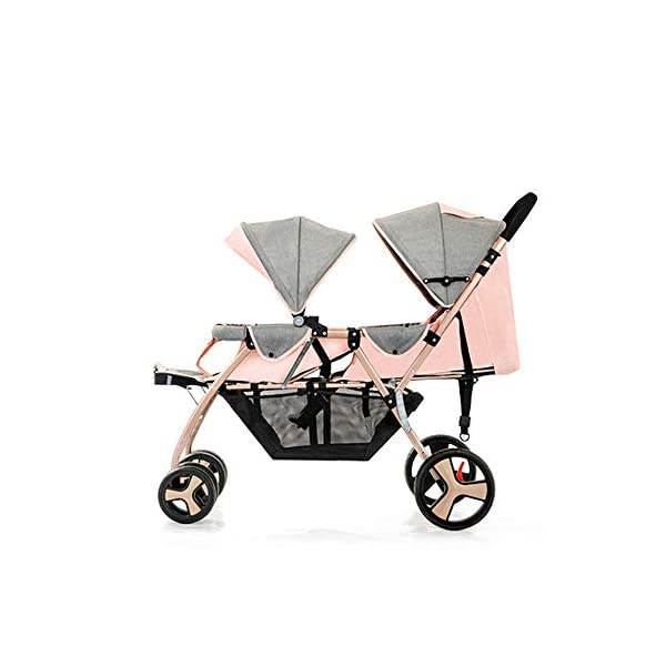 Baby Strollers Double Pushchair Twins Tandem Pushchairs, Reversible Seat Convertible Front And Rear Seats Lightweight with Convertible Bassinet Stroller Extended Canopy/Large Storage Basket,Pink MYRCLMY ♥TWIN STROLLER: Getting everywhere with two little ones has never been easier, thanks to the Double Strollers; you can glide around town even when you only have one hand free to steer; you can even roll through a standard size doorway. ♥ADJUSTABLE BACKREST & CONNECTABLE SEATS :The backrest can adjust to fit baby's sleep posture to keep comfortable sleeping. Two seats can be connected to lengthen the seat. ♥SAFETY WHEELS & 5-POINT SAFETY BELTS:The springs in front wheels absorb shocks for easy to control direction and safety. The 5-point safety belt is equipped with each seat to ensure security while keeping your baby fit to the safety belt to feel comfortable. 8