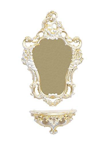 Ideacasa Set Konsole + Wandspiegel Gold Weiß vergoldet im Barock-Stil Luigi  XVI, Vintage-Nachahmung - Konsole Wandspiegel