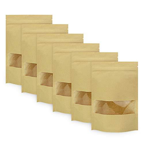 BUZIFU 50pcs Bolsas de Papel para Alimentos(14 x 22 cm) Bolsas de Papel Kraft con Ventana/Base/Cierre Zip, Impermeable y Resistente, para Guardar o Llevar Fruta, Dulces, Galleta y Sándwichera - Marrón