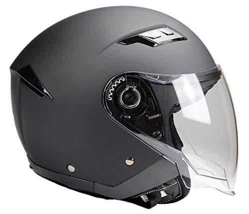 BNO Jethelm mi Langvisier Jet200 Motorradhelm Roller Helm Schutzhelm Matt Schwarz (XS-XXL) (XL)