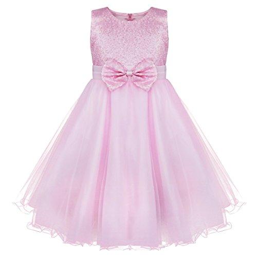 iEFiEL Mädchen festlich Kleid Hochzeit Festkleid mit Pailletten für Kinder Prinzessin Kleid Kostüm Partykleid 92-164 Rosa 158-164 (Rosa Kleid Kinder)