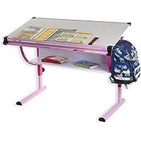 IDIMEX Carina Höhenverstellbarer Kinderschreibtisch, Metall, rosa, 113,5 x 60 x 72 cm preisvergleich bei kinderzimmerdekopreise.eu