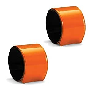 eBuyGB Pack of 2 High Visibility Reflective Slap Wrist Bands - Running Cycling Sport (Orange)