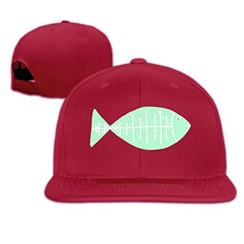 Osmykqe Green Fish Leichte atmungsaktive Outdoor-Laufmütze Athletic Baseball Fitted Caps für Herren