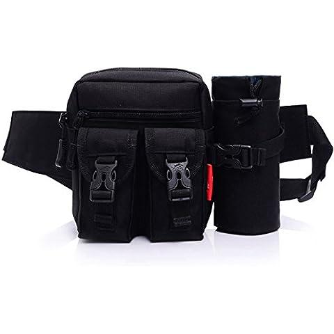 Tactical marsupio cintura porta borraccia staccabile Outdoor Waistpacks attrezzature militari Gear da viaggio per uomo e donna, nero