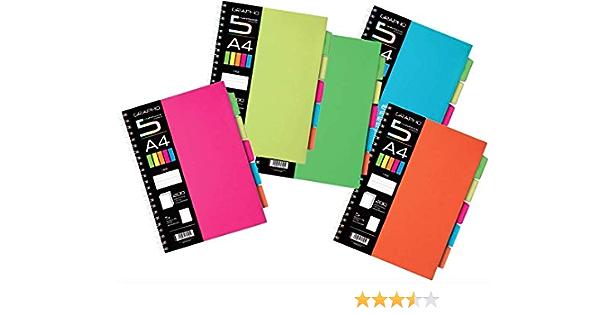 per appunti con separatore di etichette arancione separatore di schede perforato MoonShip 5 set di fogli separatori a tema A5 a 6 fori rosa per un totale di 25 fogli blu verde giallo