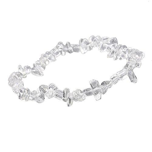 Qiuday Damen Armbänder Universal Mädchen Handgemachte 5-8mm gemischte natürliche Edelstein Chip Perlen dehnbar Armband Heilung Reiki (Platin-chip)