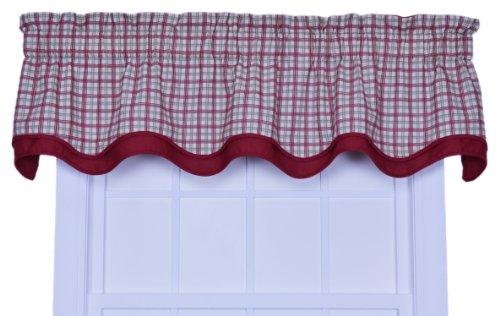 Ellis Vorhang Bristol Collection bicolor Plaid Bradford Querbehang Fenster Vorhang, baumwolle, rot, 70 by 15 (Plaid Vorhänge)