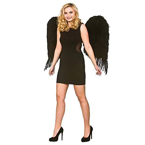 Angel Kostüm Wicked - Adult Deluxe Large Black Feather Angel Wings Halloween Fancy Dress Accessory