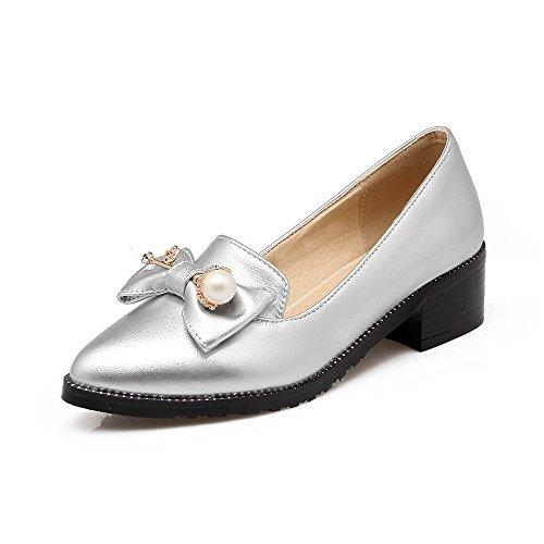 VogueZone009 Femme Pu Cuir à Talon Correct Pointu Tire Chaussures Légeres Argent