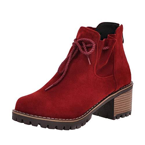 ZHANSANFM Kurz Stiefel Damen Runde Zehen Stiefeletten mit Blockabsatz Frauen Lace up Warm Ankle Boots Bequemer Elegant Wanderschuhe Chelsea Loafers Herbst Winter Freizeitschuhe (35 EU, rot) -