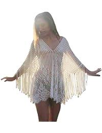 Transer Womens Sexy Hollow Stitching Crochet Beach Swimsuit Cover Up Swimwear Bikini Beachwear